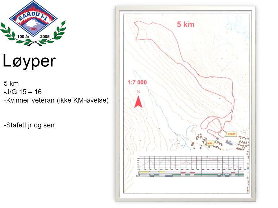 Løyper 5 km J/G 15 – 16 Kvinner veteran (ikke KM-øvelse)