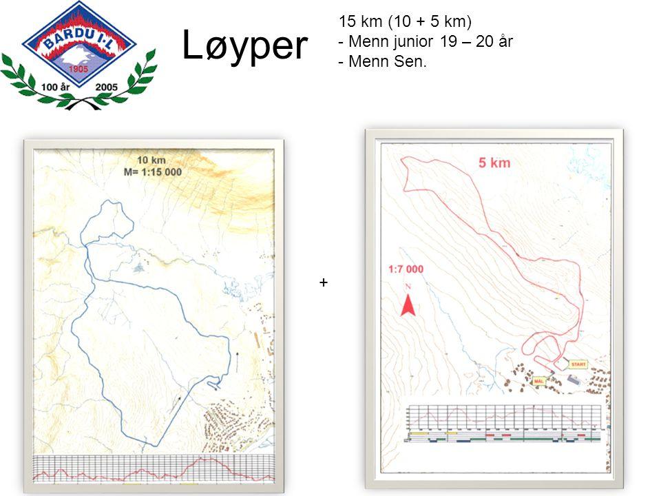 Løyper 15 km (10 + 5 km) - Menn junior 19 – 20 år - Menn Sen. +
