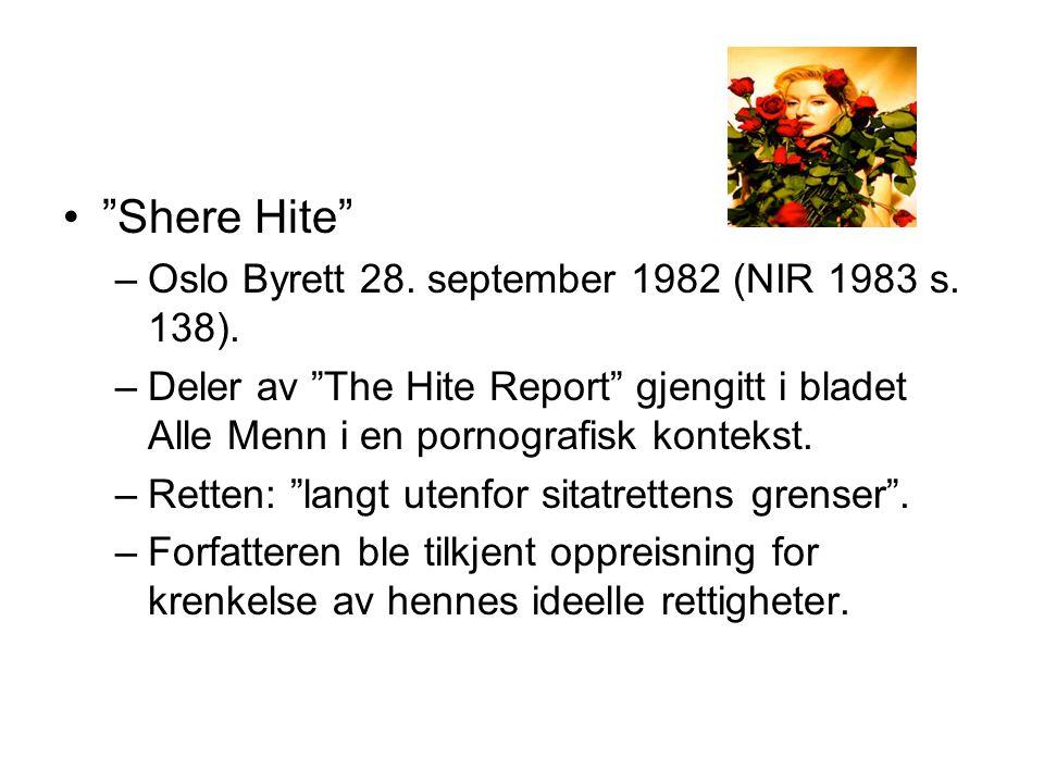 Shere Hite Oslo Byrett 28. september 1982 (NIR 1983 s. 138).