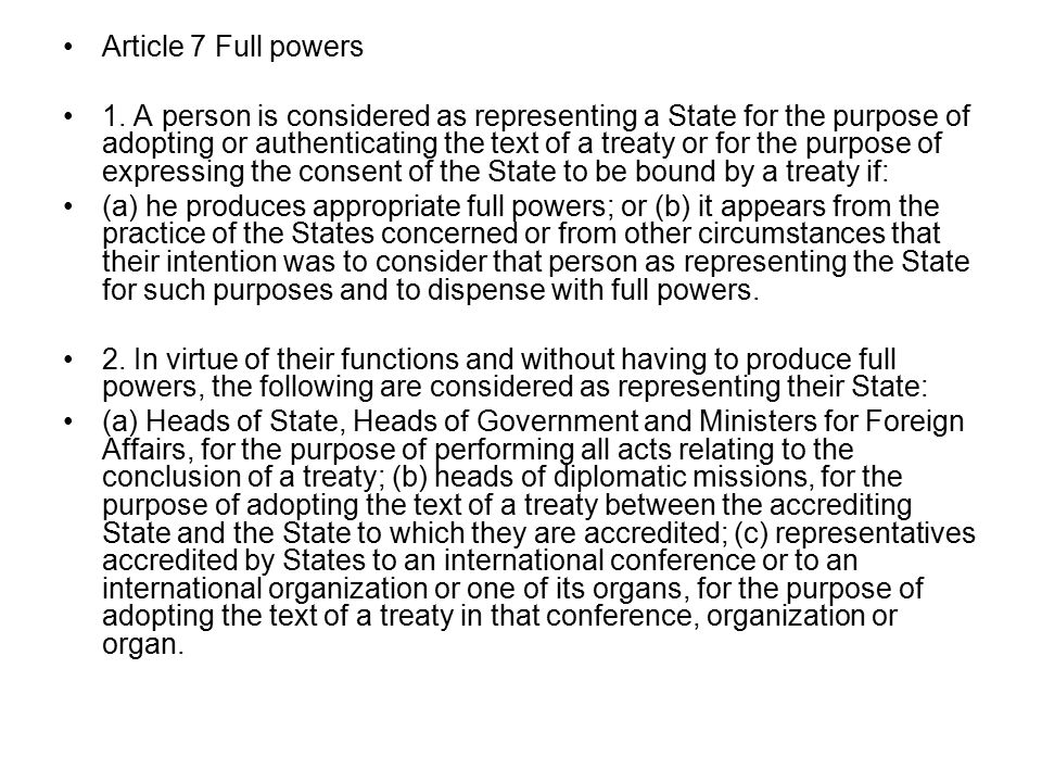 Article 7 Full powers