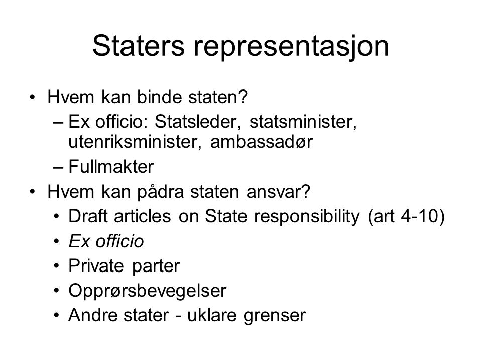 Staters representasjon