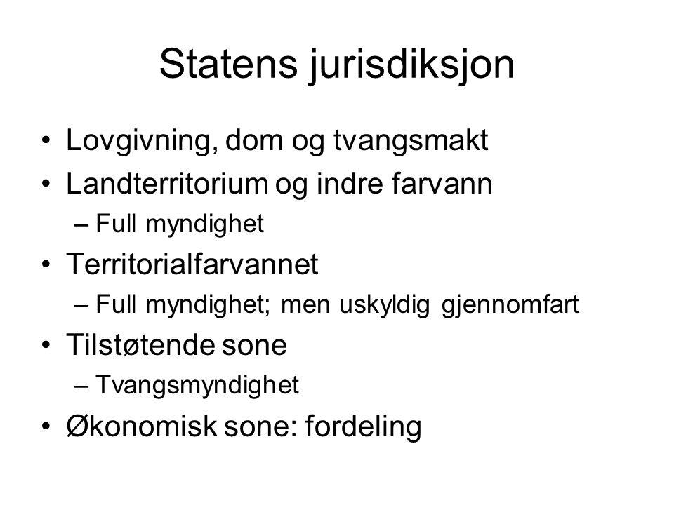 Statens jurisdiksjon Lovgivning, dom og tvangsmakt
