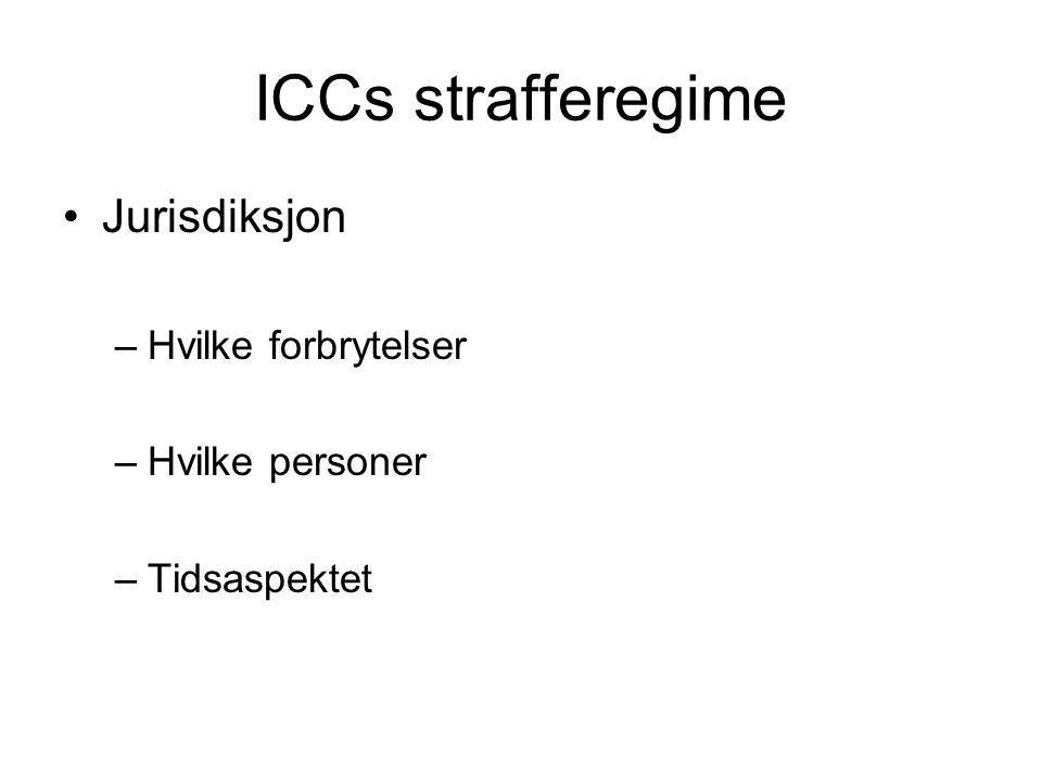 ICCs strafferegime Jurisdiksjon Hvilke forbrytelser Hvilke personer
