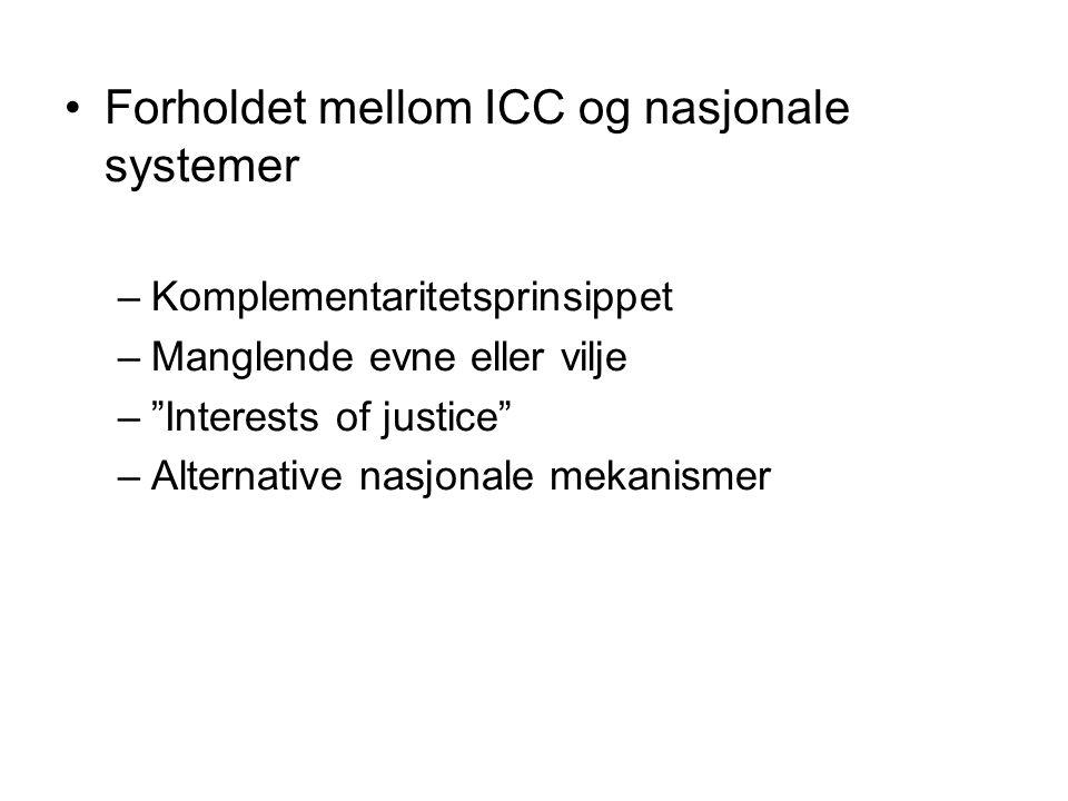Forholdet mellom ICC og nasjonale systemer