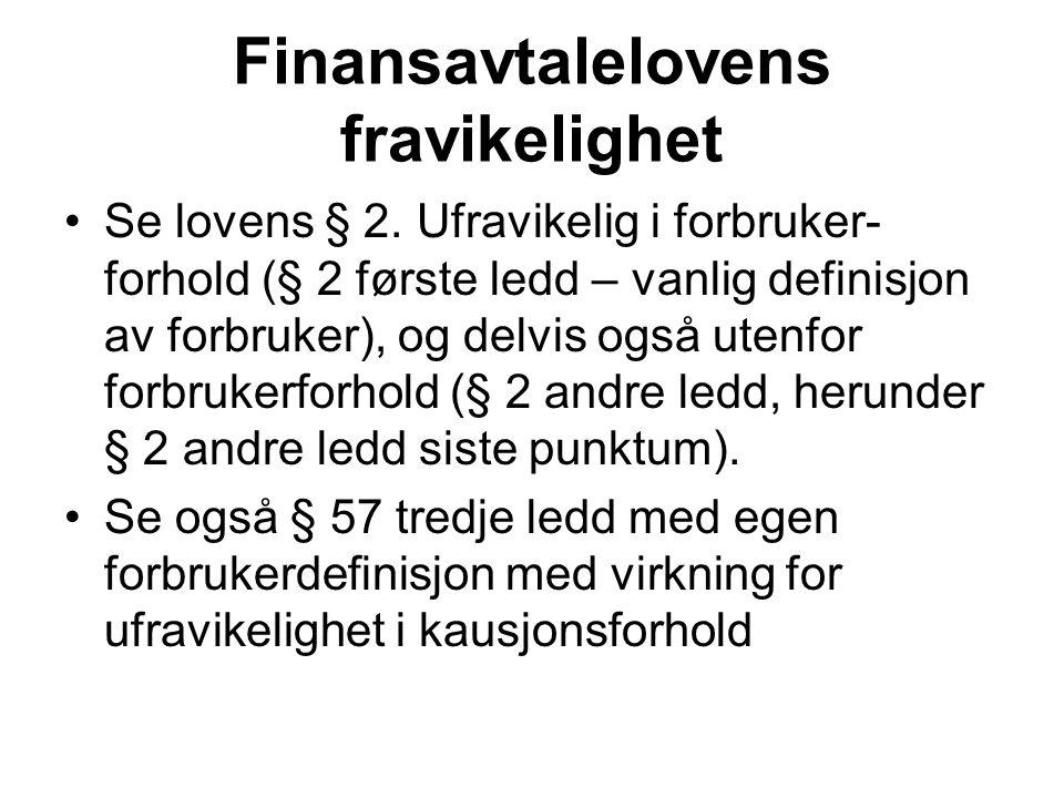Finansavtalelovens fravikelighet