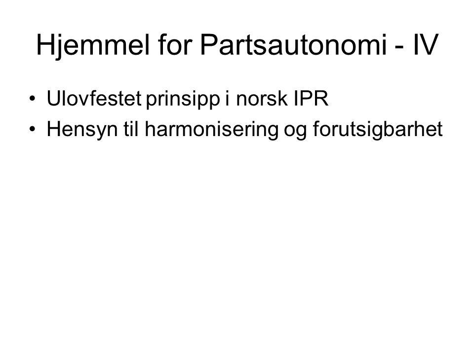 Hjemmel for Partsautonomi - IV