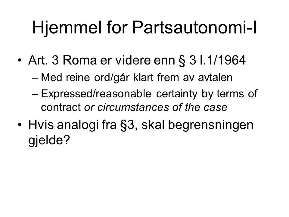 Hjemmel for Partsautonomi-I