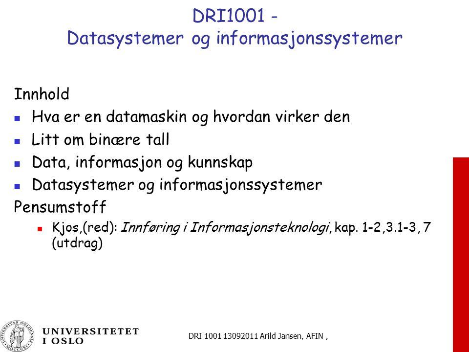 DRI1001 - Datasystemer og informasjonssystemer