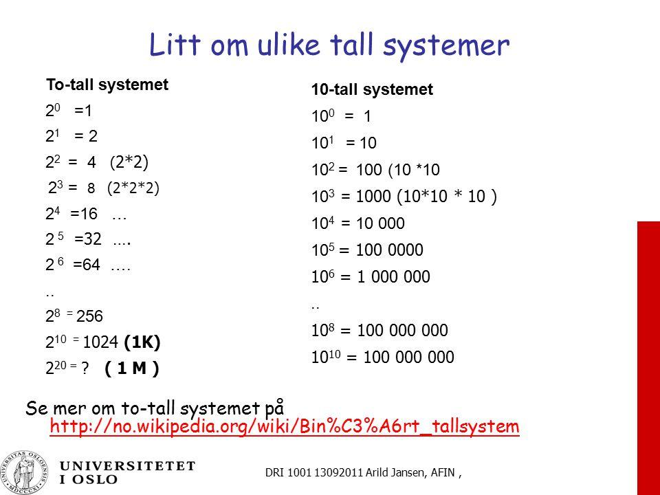 Litt om ulike tall systemer