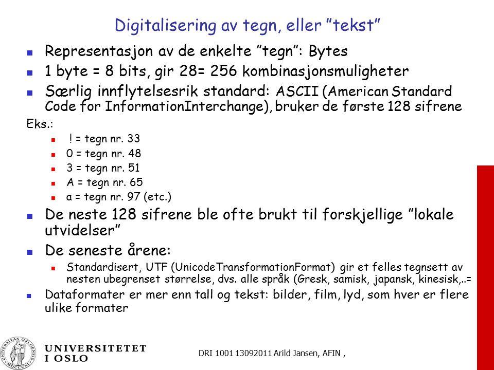 Digitalisering av tegn, eller tekst
