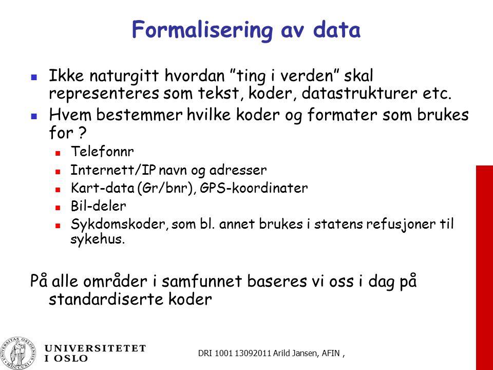Formalisering av data Ikke naturgitt hvordan ting i verden skal representeres som tekst, koder, datastrukturer etc.