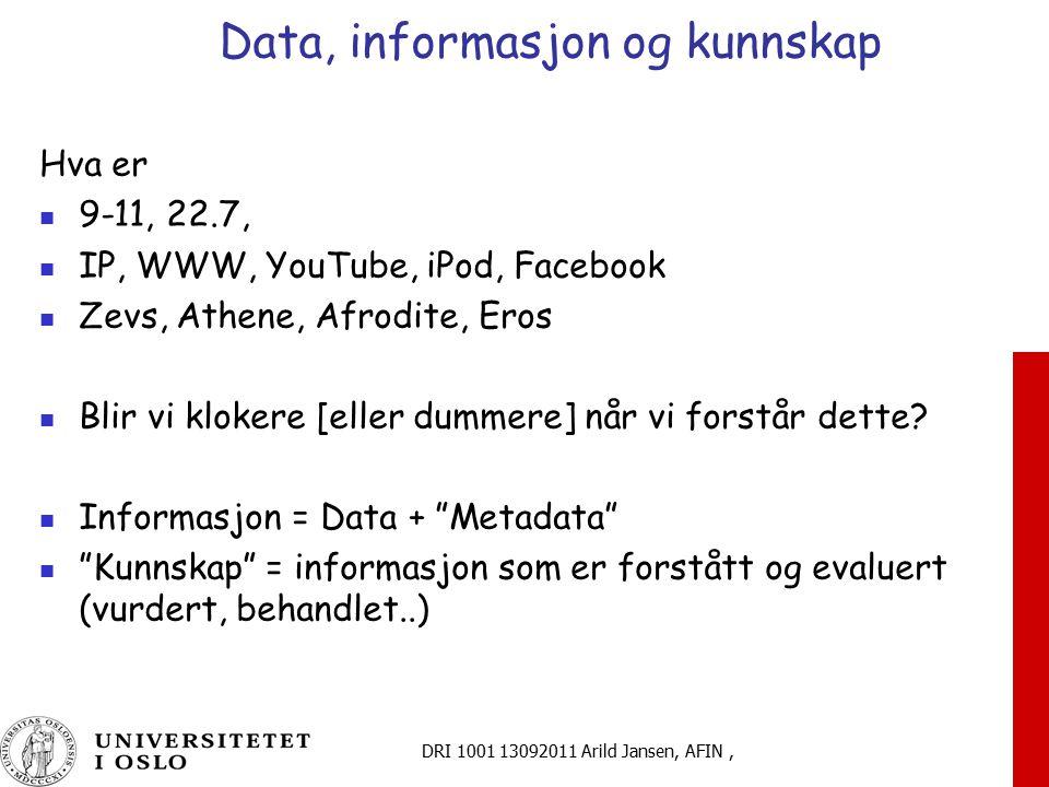 Data, informasjon og kunnskap