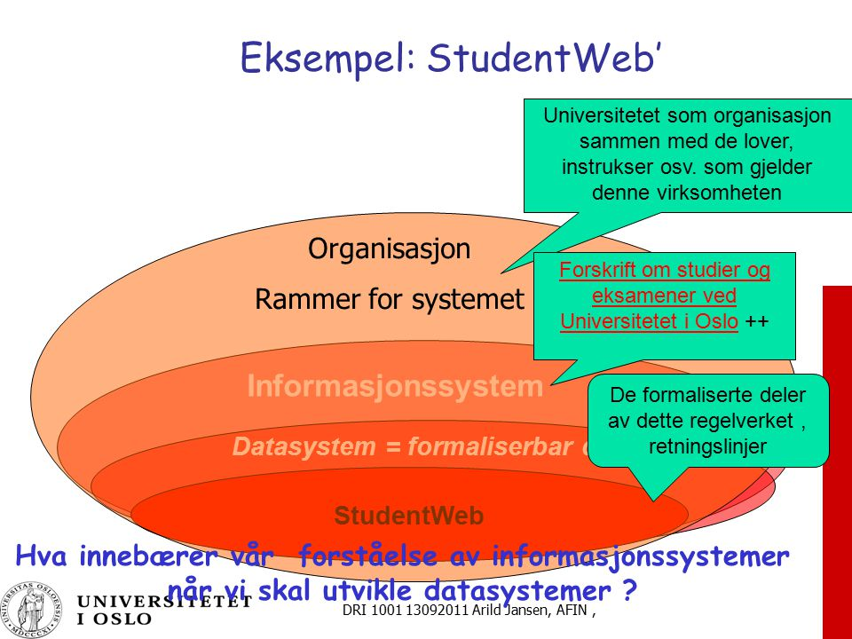 Eksempel: StudentWeb'