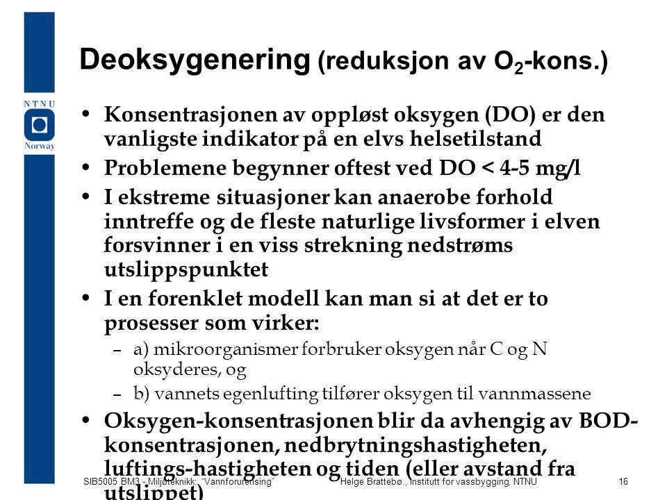 Deoksygenering (reduksjon av O2-kons.)