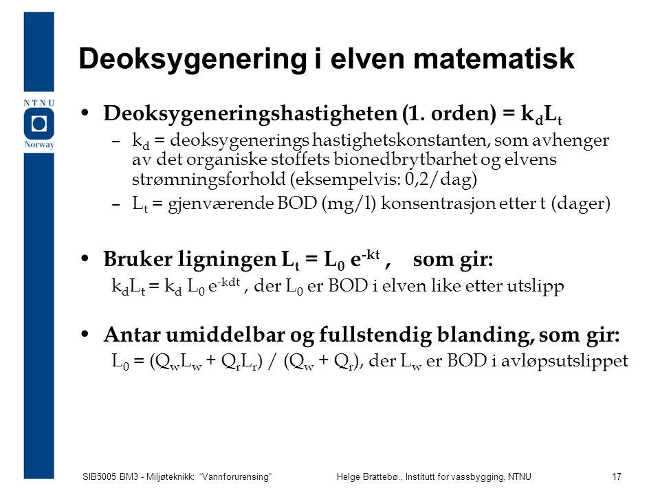 Deoksygenering i elven matematisk