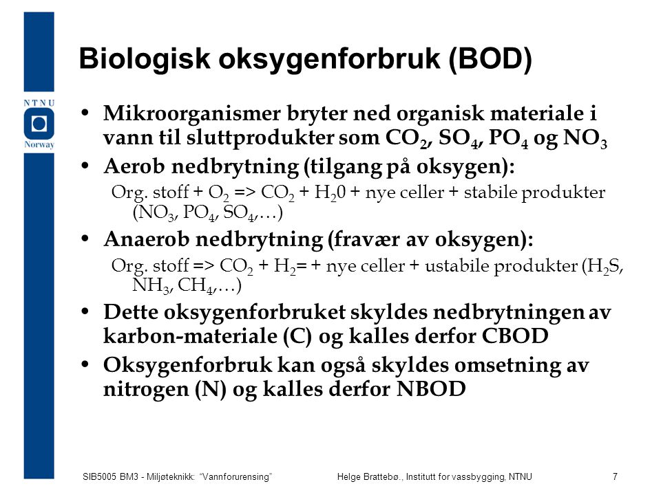 Biologisk oksygenforbruk (BOD)