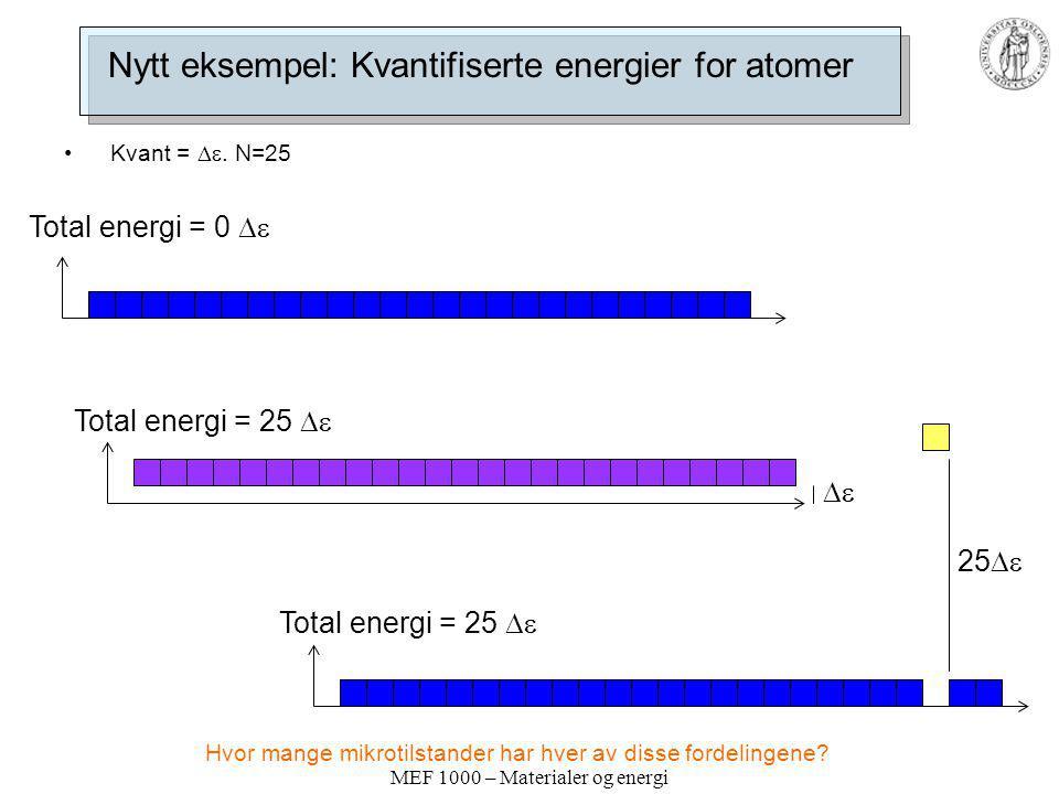 Nytt eksempel: Kvantifiserte energier for atomer