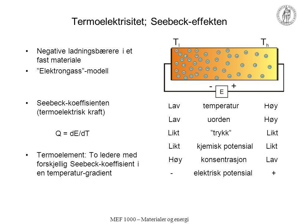 Termoelektrisitet; Seebeck-effekten