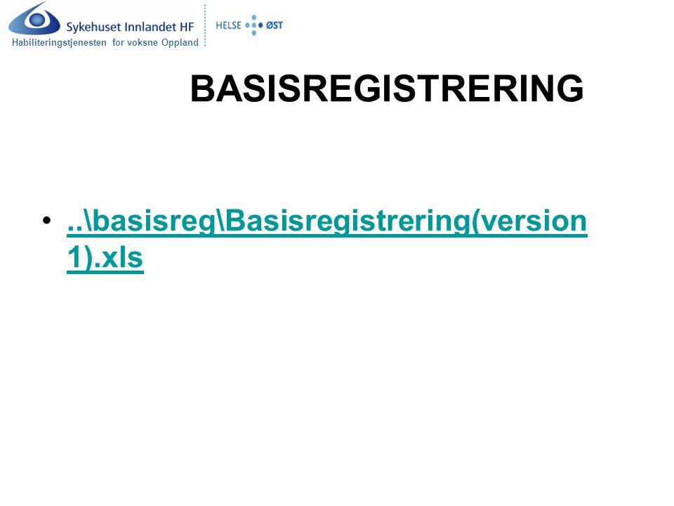 BASISREGISTRERING ..\basisreg\Basisregistrering(version 1).xls