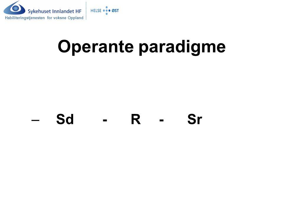 Operante paradigme Sd - R - Sr