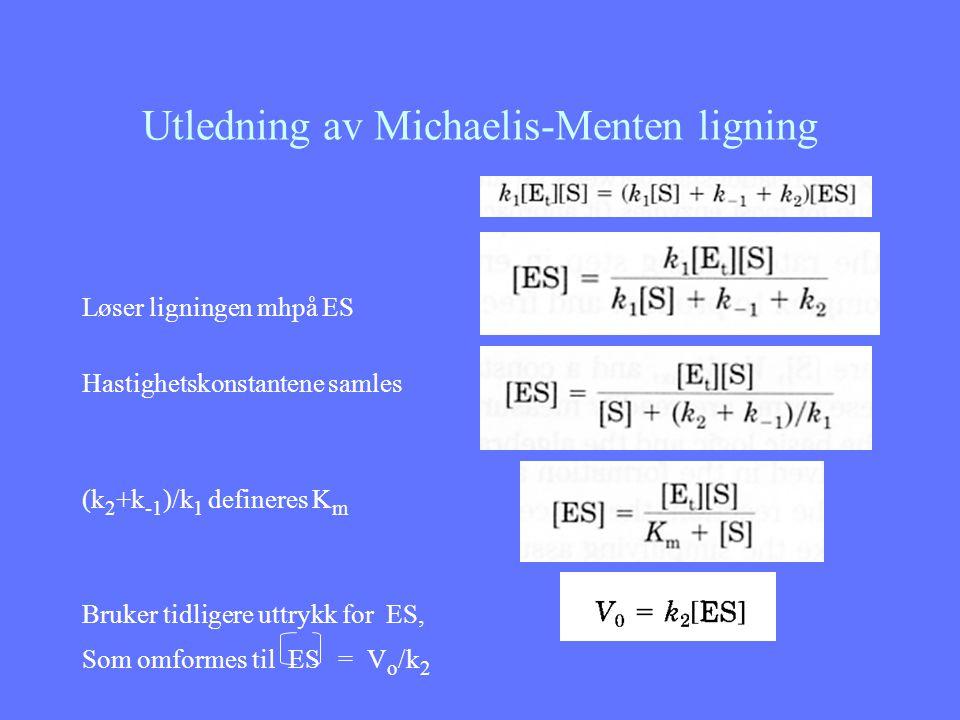 Utledning av Michaelis-Menten ligning