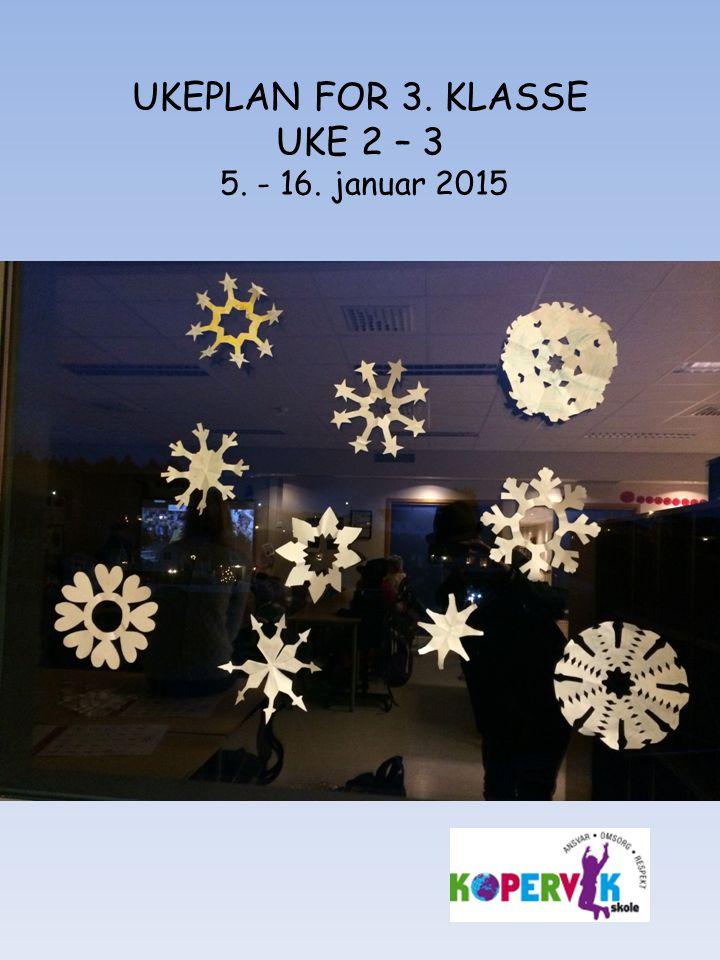 UKEPLAN FOR 3. KLASSE UKE 2 – 3 5. - 16. januar 2015