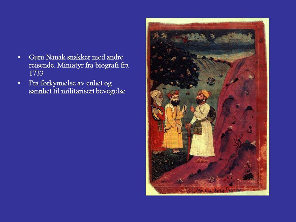 Guru Nanak snakker med andre reisende. Miniatyr fra biografi fra 1733