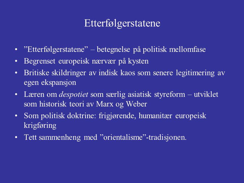 Etterfølgerstatene Etterfølgerstatene – betegnelse på politisk mellomfase. Begrenset europeisk nærvær på kysten.