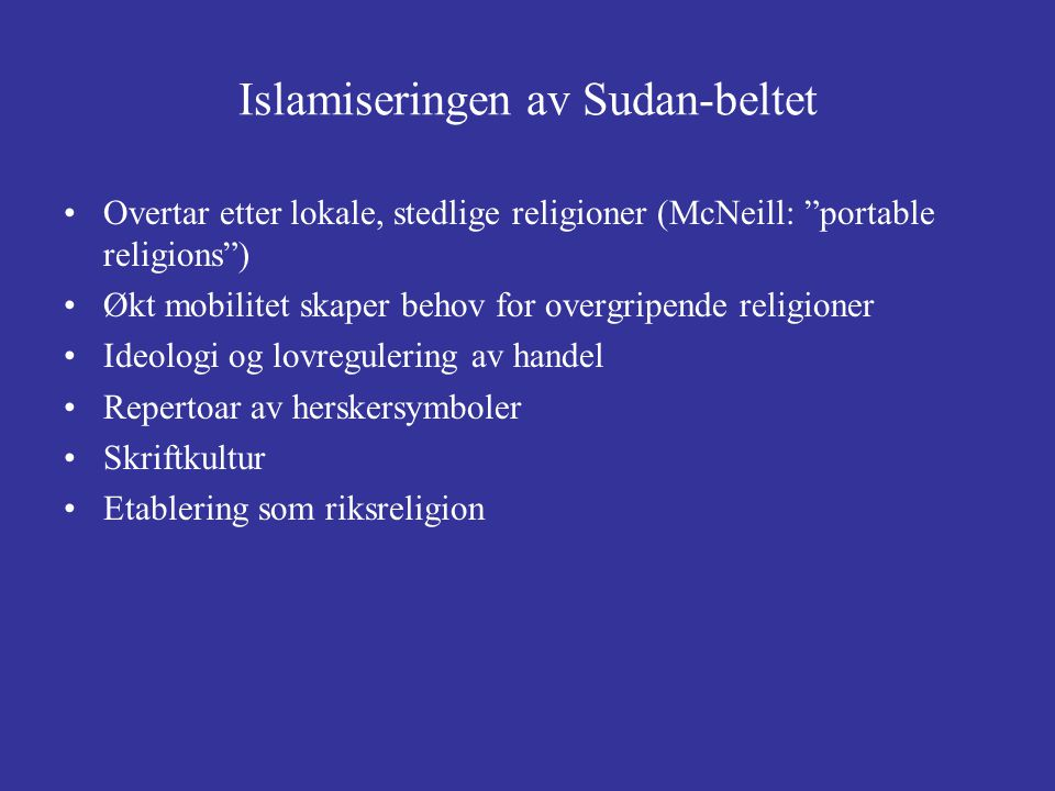 Islamiseringen av Sudan-beltet