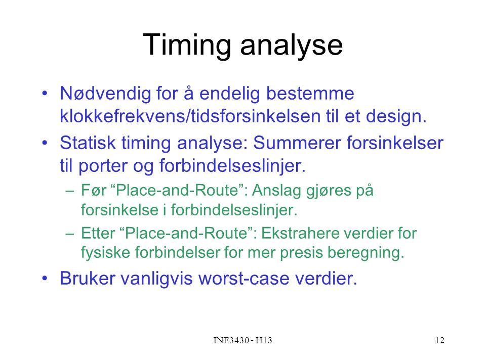 Timing analyse Nødvendig for å endelig bestemme klokkefrekvens/tidsforsinkelsen til et design.