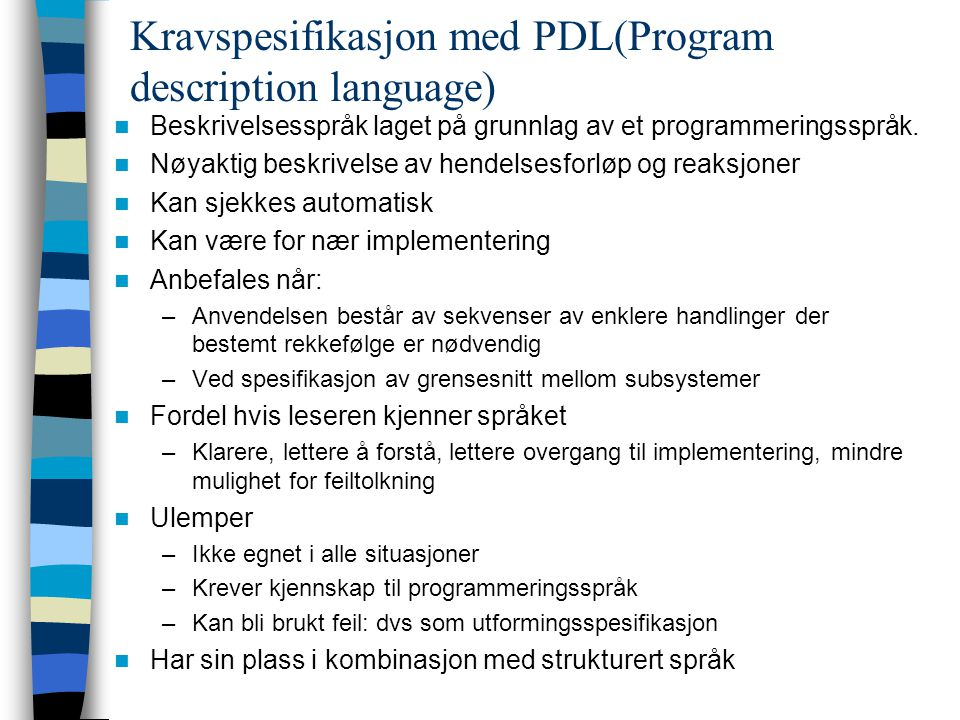 Kravspesifikasjon med PDL(Program description language)