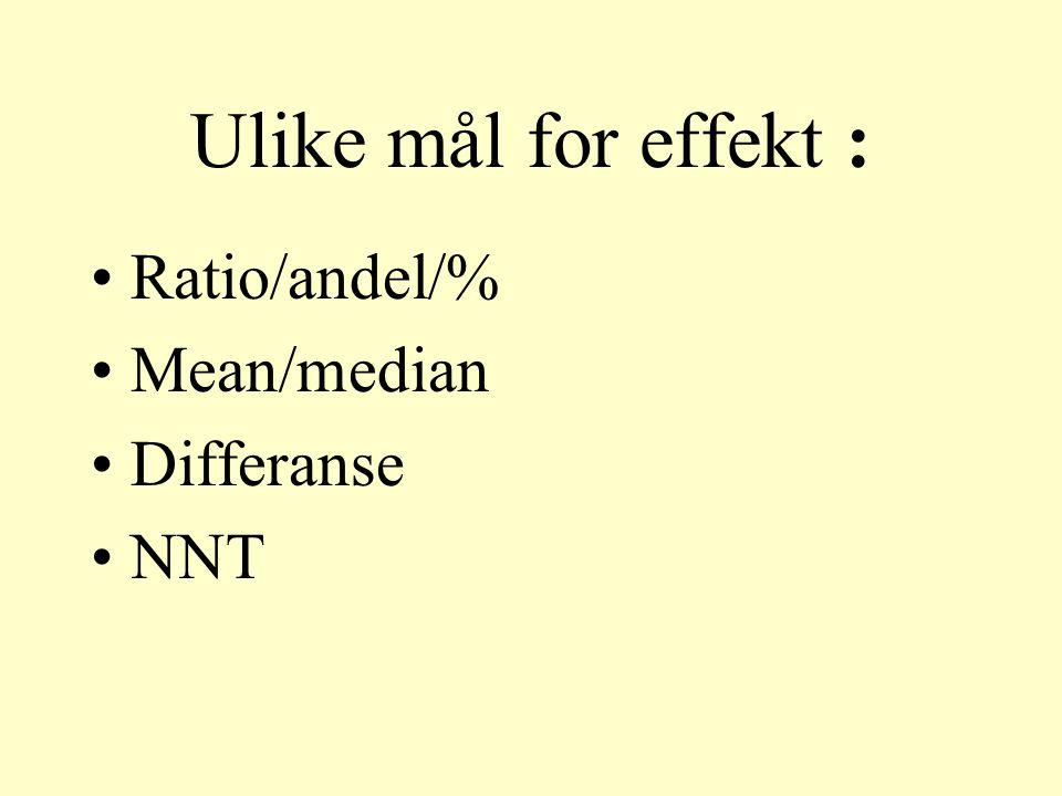 Ulike mål for effekt : Ratio/andel/% Mean/median Differanse NNT