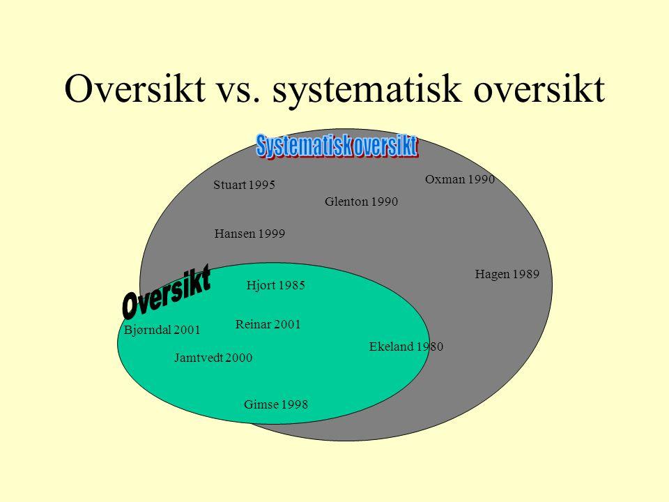 Oversikt vs. systematisk oversikt