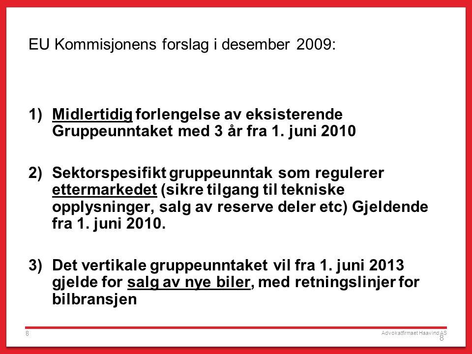 EU Kommisjonens forslag i desember 2009: