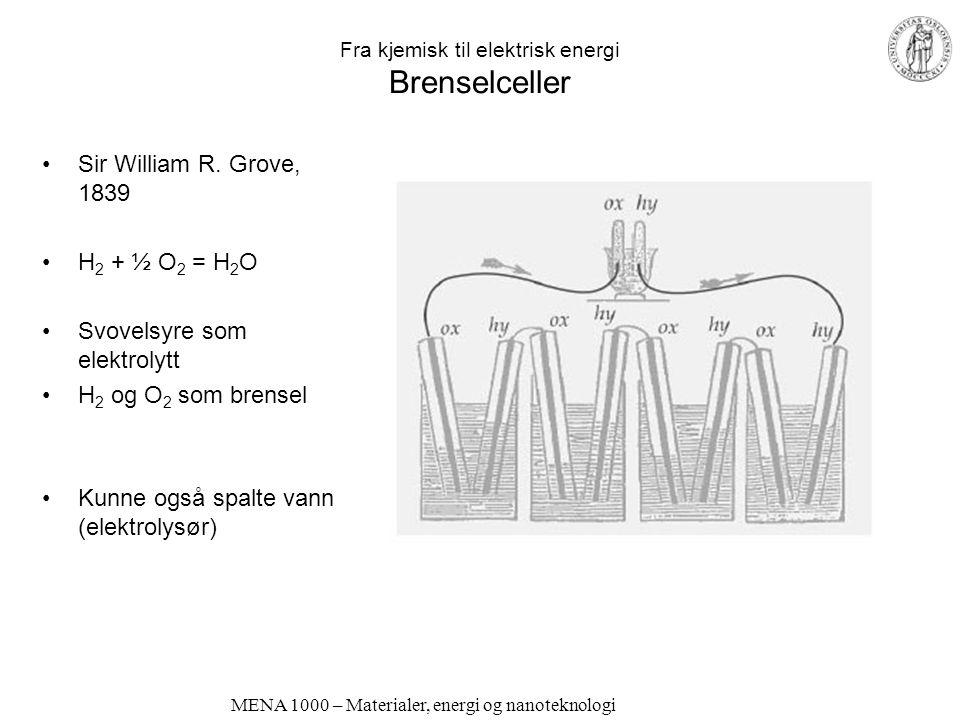 Fra kjemisk til elektrisk energi Brenselceller