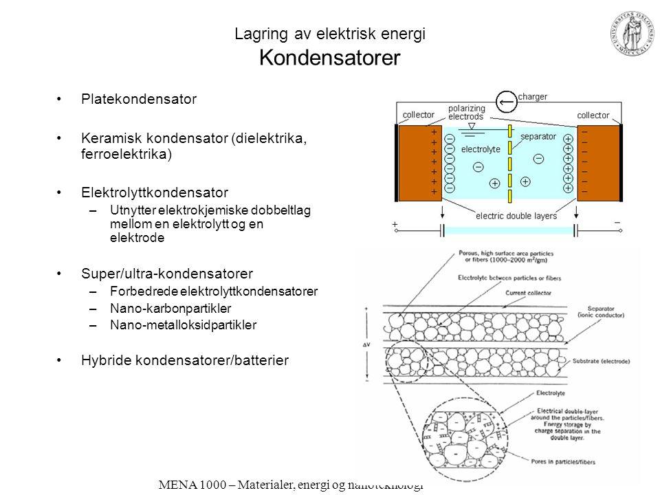 Lagring av elektrisk energi Kondensatorer