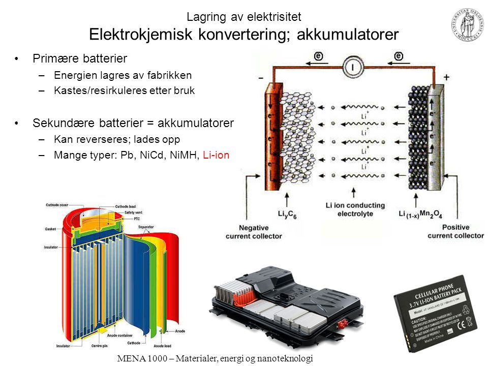 Lagring av elektrisitet Elektrokjemisk konvertering; akkumulatorer