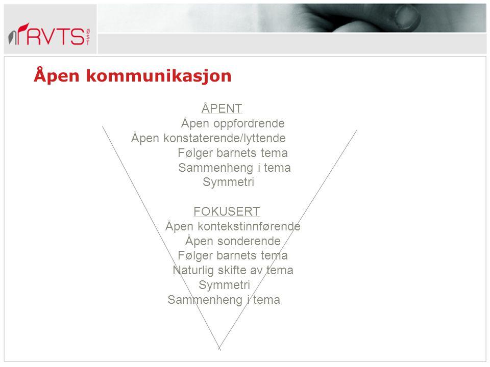 Åpen kommunikasjon ÅPENT Åpen oppfordrende Åpen konstaterende/lyttende