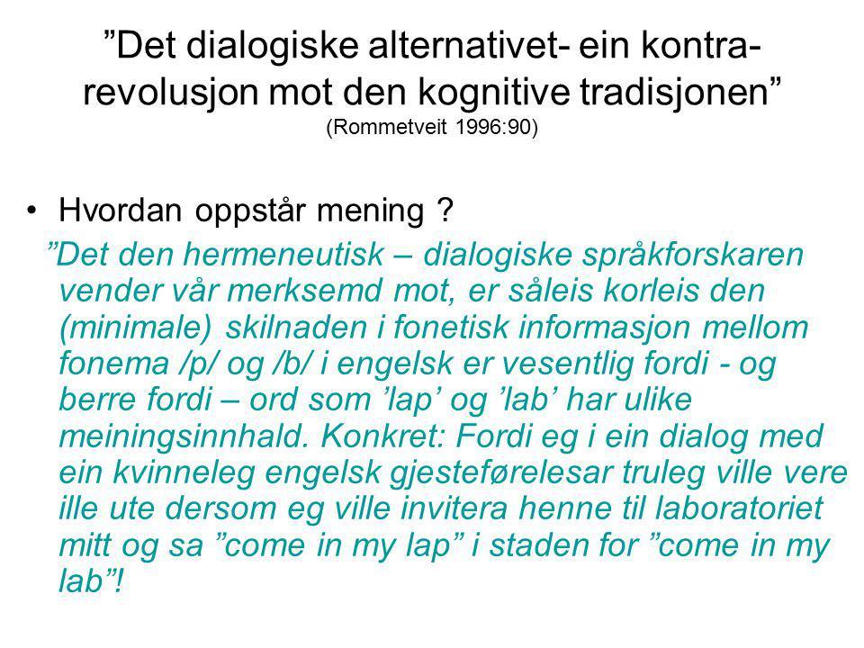Det dialogiske alternativet- ein kontra-revolusjon mot den kognitive tradisjonen (Rommetveit 1996:90)