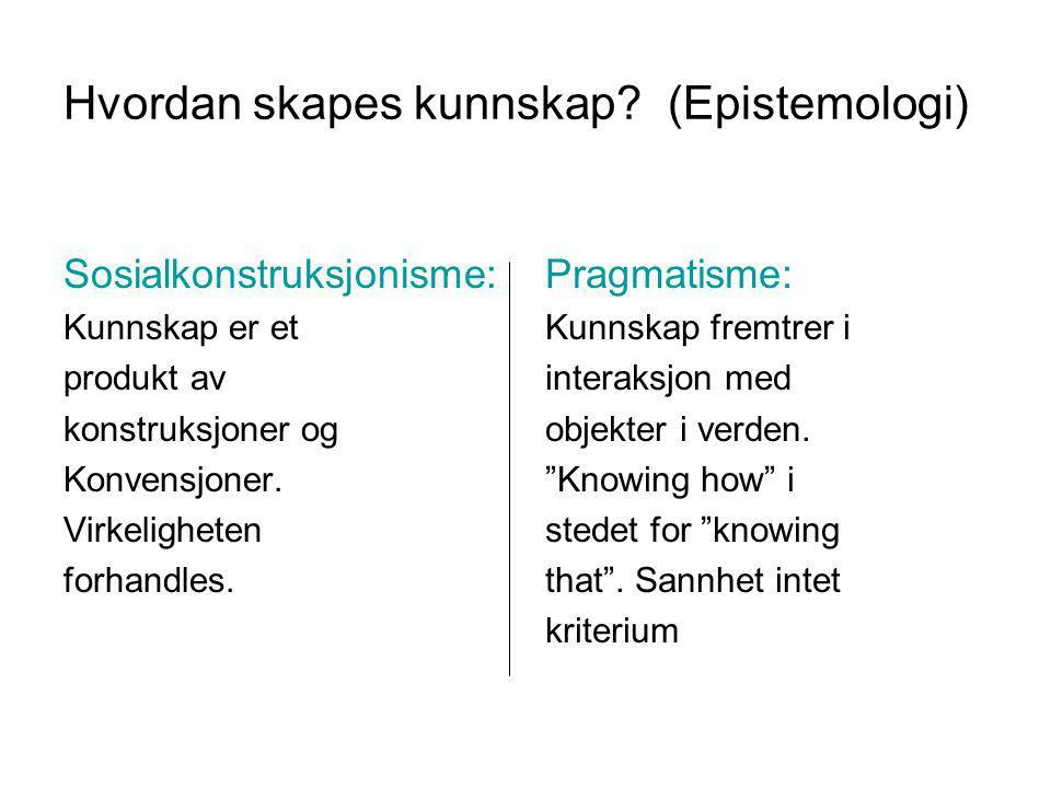 Hvordan skapes kunnskap (Epistemologi)