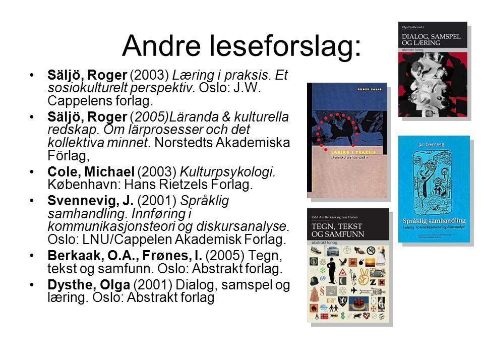 Andre leseforslag: Säljö, Roger (2003) Læring i praksis. Et sosiokulturelt perspektiv. Oslo: J.W. Cappelens forlag.