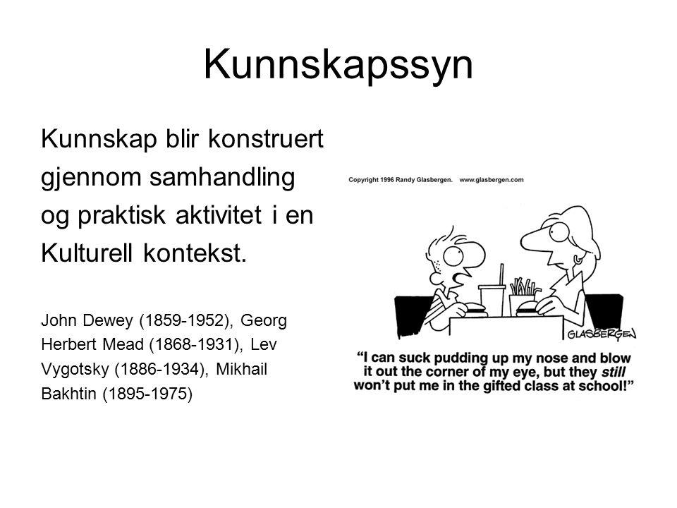 Kunnskapssyn Kunnskap blir konstruert gjennom samhandling