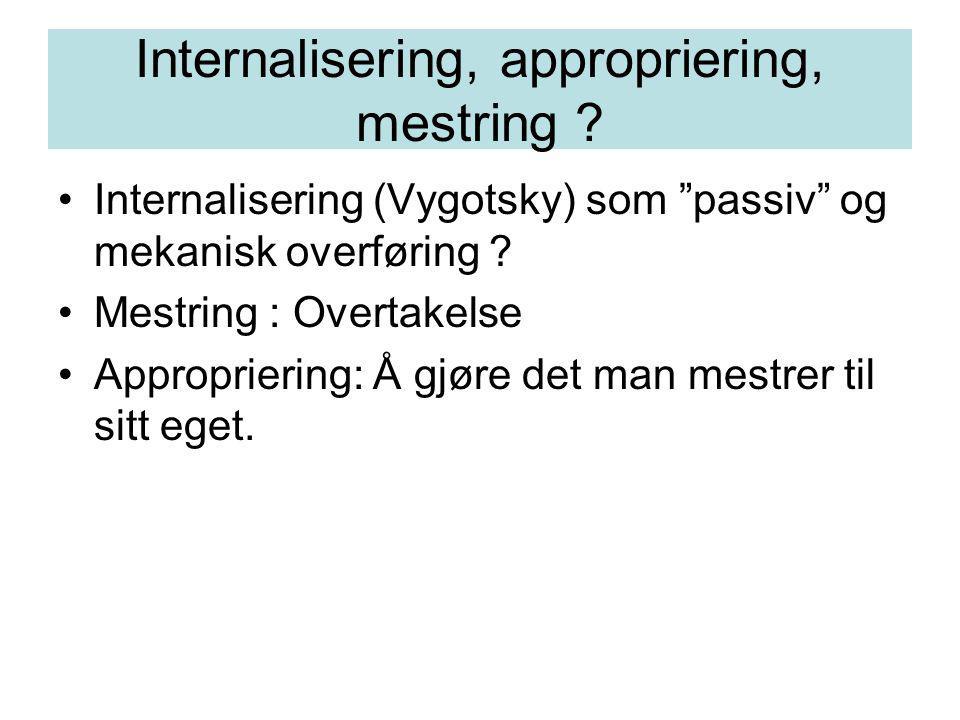 Internalisering, appropriering, mestring