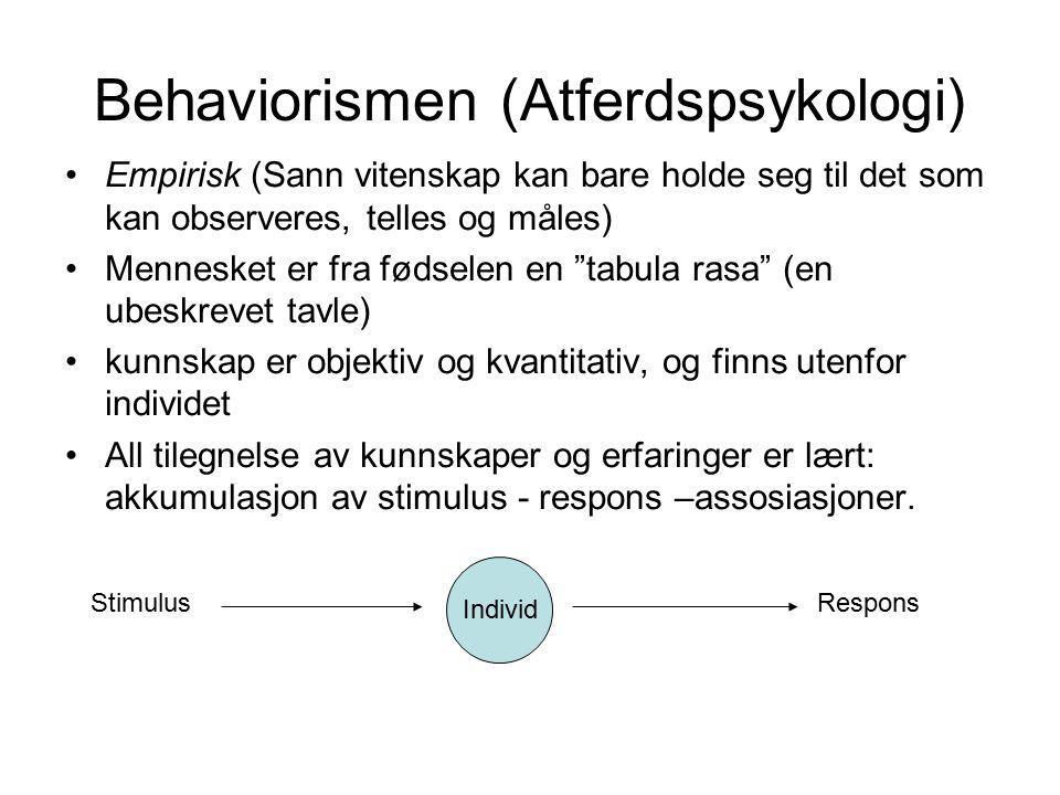 Behaviorismen (Atferdspsykologi)
