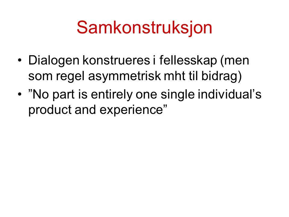 Samkonstruksjon Dialogen konstrueres i fellesskap (men som regel asymmetrisk mht til bidrag)