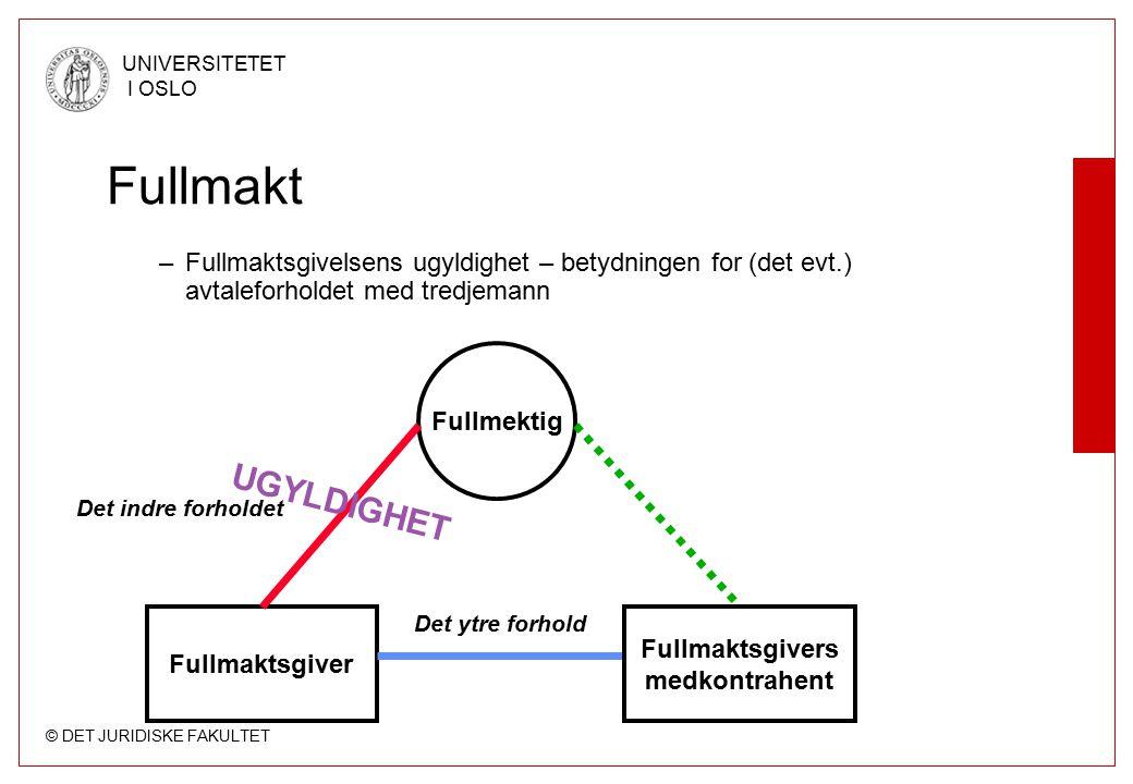 Fullmakt Fullmaktsgivelsens ugyldighet – betydningen for (det evt.) avtaleforholdet med tredjemann.