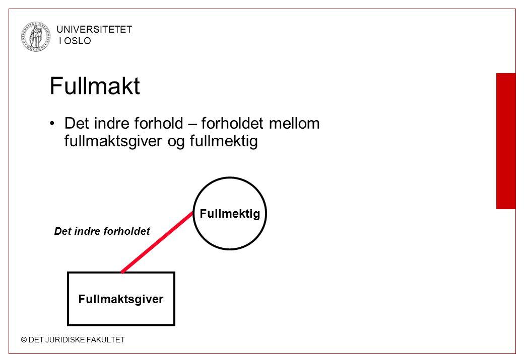 Fullmakt Det indre forhold – forholdet mellom fullmaktsgiver og fullmektig. Fullmektig. Det indre forholdet.