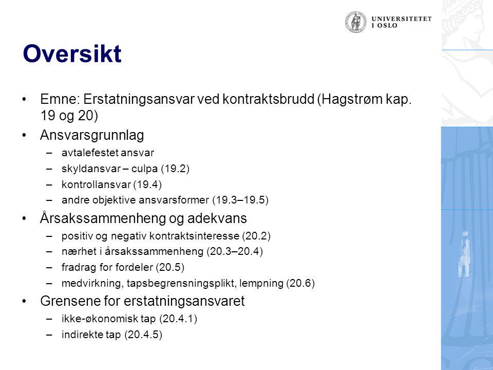 Oversikt Emne: Erstatningsansvar ved kontraktsbrudd (Hagstrøm kap. 19 og 20) Ansvarsgrunnlag. avtalefestet ansvar.