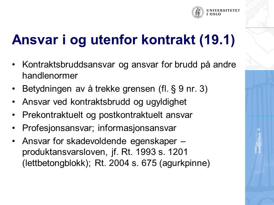 Ansvar i og utenfor kontrakt (19.1)