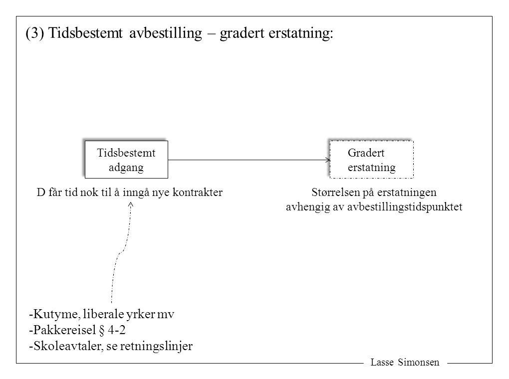 (3) Tidsbestemt avbestilling – gradert erstatning: